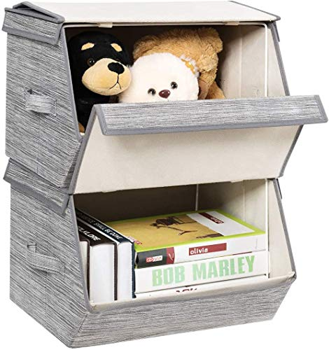 Knoijijuo Set of 4 Stackable Box for Clothes, Toys, Towels, Books, with Lid Inclined Rabat, Side Handles, Cardboard