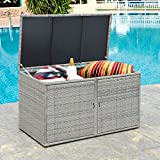 Tangkula Outdoor Wicker Storage Box, Garden Deck Bin with Steel Frame, Rattan Pool Storage Box with Lid, Ideal for Storing Tools, Accessories and Toys, 88 Gallon Capacity (Grey)