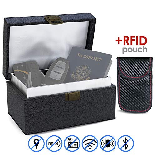 Faraday Box and Pouch - Portable RFID Key Fob Protector Box - Protects Remote Car Keys and Keyless Fobs from Scanners and Thieves- Dual-Layer Signal Blocker, Blocks All Electronic Signals.