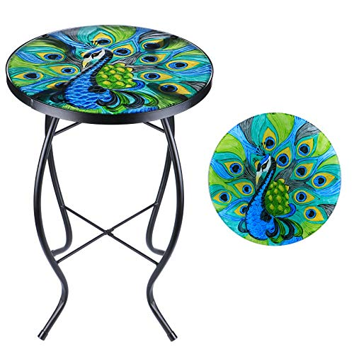 MUMTOP Patio End Table Outdoor Side Tables 14'' Round Accent Table Peacock Glass Metal Side Table Plant Stand Decor for Garden, Balcony Indoor Use