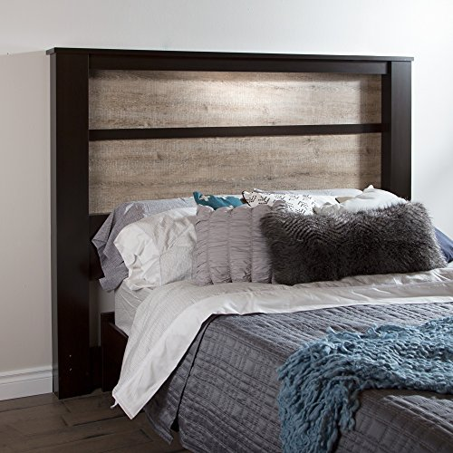 South Shore Furniture Gloria King Headboard with Lights, 78-Inch, Chocolate and Weathered Oak
