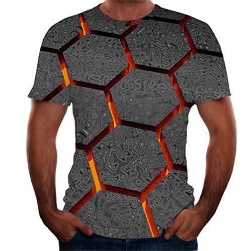 Qier Tshirt Herren Grafische Kurzarm-Oberteile, Baumwoll-T-Shirt, T-Shirts Mit Neuartiger Geometrie Und 3D-Druck, Schwarz, M.