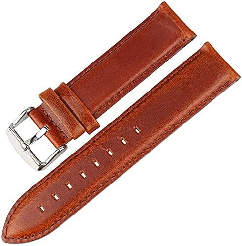Chtom Correa de Reloj de Cuero marrón con Cierre Oro Rosa Reloj de Reloj 16mm 17mm 18mm 20mm (Color : 14mm Lightbrown-Silver, Size : -)
