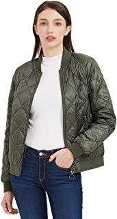 ZYDP Women Duck Down Jacket Diamond Shape Patten Casual Short Slim Fit Jacket for Womens Winter Cloth (Color : Green, Size : XS)