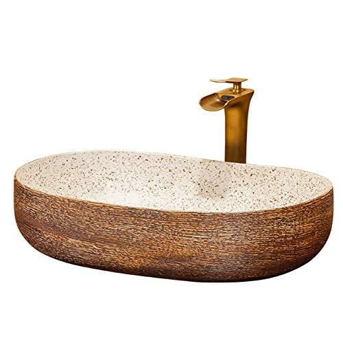 TTYY Keramik-Arbeitsplatte, Vintage Bad Garderobe Keramik Waschbecken Waschschüssel Waschraum Zubehör, 41 * 15cm L