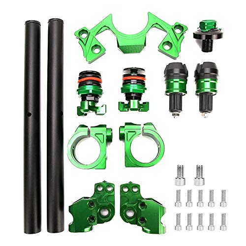 Qiilu Motorcycle Adjustable Handlebars, Clip Adjusters Fork Clamp Fits for Kawasaki Ninja 250 300(Green)