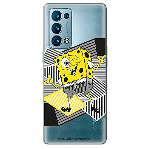 Movilshop Funda para [ OPPO Reno 6 5G ] Bob Esponja Oficial [Clásico] Nickelodeon de Silicona Flexible Transparente Carcasa Case Cover Gel para Smartphone.