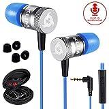 KLIM™ Fusion - Auriculares con micrófono para móvil + Garantía 5 años + Innovadora Espuma de Memoria + Jack 3,5 mm + Compatibles con Smartphone, Tablet, Consola, PC - Nueva Versión 2020 - Azul