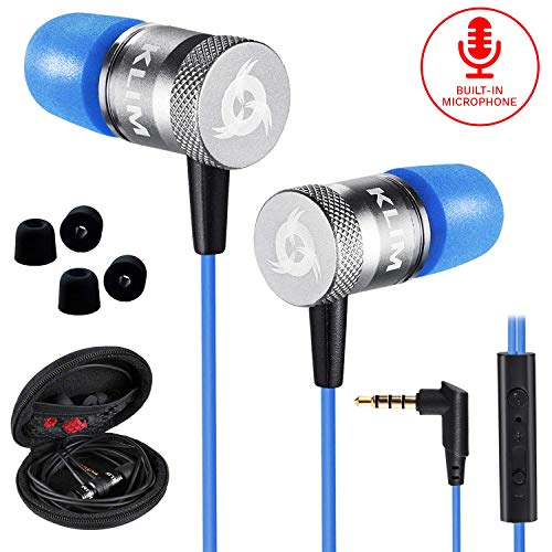 KLIM Fusion Kopfhörer in Ears mit Mikrofon - Langlebig - Innovativ: In-Ear Kopfhörer mit Memory Foam - Neue 2020 Version - 3.5 mm Jack - Sport Gaming In Ear Kopfhörer - Blau