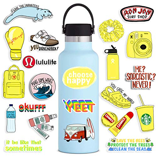 Vsco Stickers for Hydro Flask, Cute Positive Trendy Aesthetic Vinyl Sticker for Winter Vsco Teen Girls Stuff, Yellow Scrunchies Waterproof Decal Decoration for Laptop Water Bottle Phone Case, 50 Pack