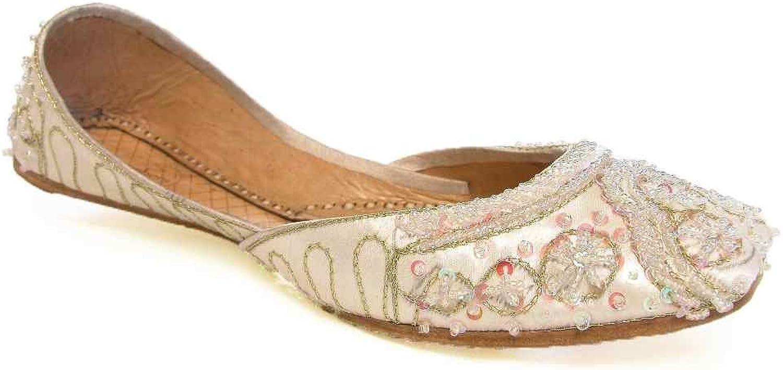 Beachcombers Womens Khussa Silk Beaded Flats shoes