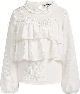 GRACE KARIN Girls Ruffle Blouse Girl Casual Tee Shirts Long Sleeve Loose T Shirt
