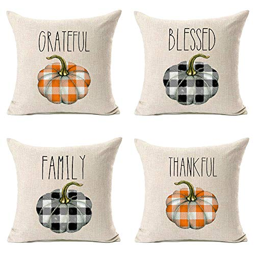 MFGNEH 4pcs Grateful Blessed Family Thankful Fall Pillow Covers 18x18,Thanksgiving Decorations Buffalo Check Plaid Pumpkins Farmhouse Throw Pillow Case Cushion Cover