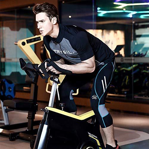 MEETWEE Herren 3/4 Radhose Fahrradhose, Kompression Radlerhose Leggings Radsport Hose für Männer Elastische Atmungsaktive 3D Schwamm Sitzpolster - 6