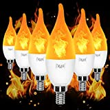 YEAHBEER E12 Flame Bulb LED Candelabra Light Bulbs,1.2 Watt Warm White LED Chandelier Bulbs- Flame Bulbs for Festival/Hotel/Christmas Decoration(6 Pack)