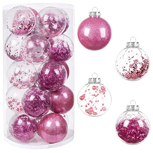 "HBlife 20ct Mini Christmas Ball Ornaments Shatterproof Clear Plastic Baubles for Xmas Tree, Christmas Decor Perfect Hanging Ball, 3.15"" Pink"