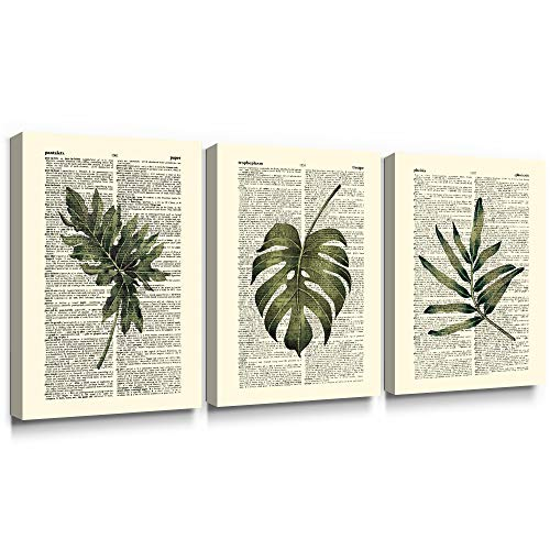 SUMGAR Leaf Pictures Green Canvas Wall Art Oriental Fern Prints Vintage Plants Painting Large Rustic Tropical Artwork Nature Home Decor for Living Room Hallway Bedroom Bathroom 30x40cmx3 Pieces