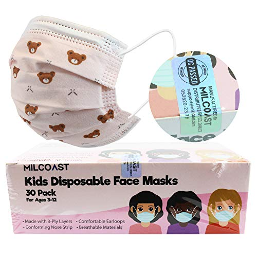 Milcoast 3-Layer Kids Disposable Face Masks - Easy to Breathe, Soft Earloops - for Childcare, School, Daily Use - 30 Pack (Girl Design)