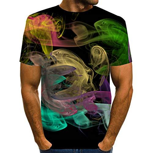 GEDASHU 3D T-Shirt 3D Bunte Smog Print T-Shirt Männer Frauen Hipster Harajuku Casual T-Shirt Männer Hip Hop Streetwear T-Shirts Männlich 6XL