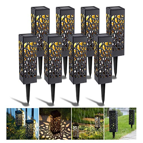 SANBLOGAN Solar Gartenleuchte, Solarleuchten Garten Solarlampe Wegeleuchten Solar Bodenleuchten Aussen IP65 Warmweiße LED Solarleuchten für Außen, Rasen, Terrasse, Garten, Hof Gehweg Beleuchtung