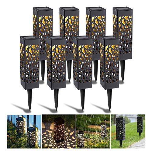 SANBLOGAN Lámparas Solares para Jardín, 8 Piezas Luz Solar Jardin Llama Luz Solar de Exterior Luz Solar de Césped Decoración Iluminación de Jardín para Camping Patio Césped Fiesta Boda Decorativa