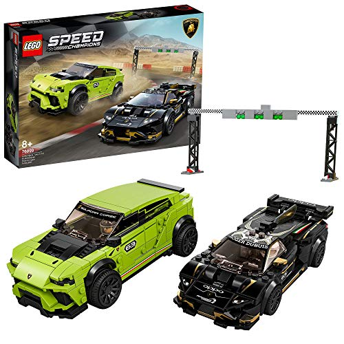 LEGO Speed Champions - Lamborghini Urus ST-X & Lamborghini Huracán Super Trofeo EVO, Set de Construcción con 2 Coches para Jugar a las Carreras (76899)