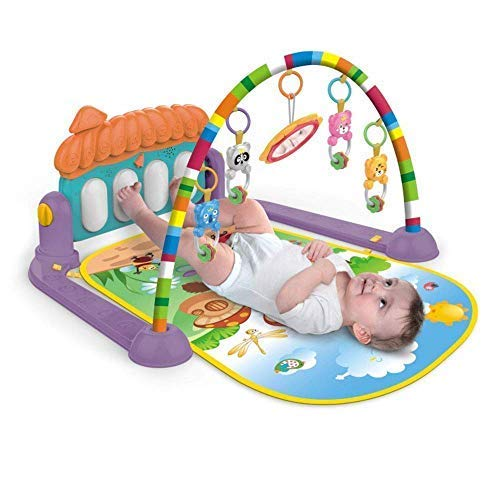 COROFFY Girl's and Boy's Multicolour Baby Gym for Kick and Play with Musical Light, Hanging Toys and Mat, Activity Bed (3-6 Months)