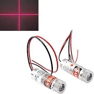 WayinTop 2pcs 650nm Focusable Focus Adjustable Lens Laser Red Cross Diode Module 3-5V with Driver Plastic Lens (Cross Laser)