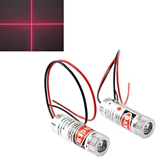 WayinTop 2pcs 650nm 5mW Focusable Focus Adjustable Lens Laser Red Cross Diode Module 3-5V with Driver Plastic Lens (Cross Laser)