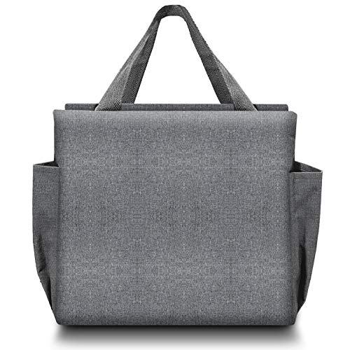 Neue Lunch-Tasche, Isolierte Bento-Einkaufstasche mit Kühler, Verdickte Picknick-Handtasche mit Zwei Großen Taschen, Faltbare Lunch-Behälter für Männer, Frauen, Kinder (grau)