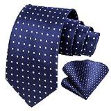 Men's Navy Blue Polka Dot Tie Navy and White Ties for Men Polka Dot Neckties and Handkerchiefs Set for Weddings