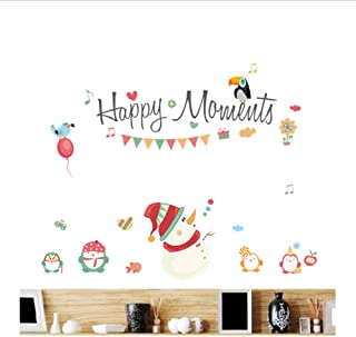 GUOXIN12 Happy Moments Merry Christmas Snowman Wall Sticker, Decals Window Party Decoration New Year Home Decor Poster Mural