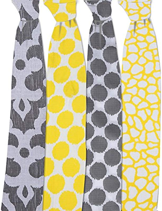 Bacati Ikat Yellow Grey Dots Giraffe Swaddling Muslin Blankets Set Of 4