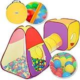 KIDUKU® 3-teiliges Bällebad Spielzelt Babyzelt + Krabbeltunnel + 200 Bälle + Tasche für drinnen und draußen
