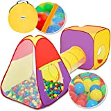 KIDUKU® 3-teiliges Bällebad Spielzelt Babyzelt + Krabbeltunnel + 200...
