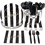 Black and Gold Striped Celebrate Plates, Napkins, Cups, and Cutlery...