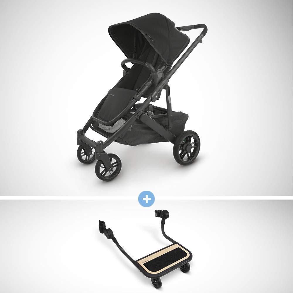 UPPAbaby Cruz V2 Stroller - Jake (Black/Carbon/Black Leather) + Piggyback for Cruz V2