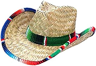 Jacobson Hat Company Western Cowboy Adult Straw Mexican Hat With Serape Band Trim Costume Accessory