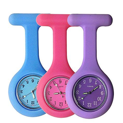 Reloj para enfermeros con broche, hecho de silicona de alta calidad con pasador/clip y diseño con control de infecciones, brilla en la oscuridad, Blue Pink Purple