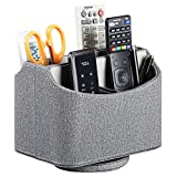 Leather Remote Control Holder, 360 Degree Spinning Desk TV Remote Caddy/Box,Bedside Table Organizer for Controller, Media, Mail, Calculator, Mobile Phone and Pen Storage (Grey)
