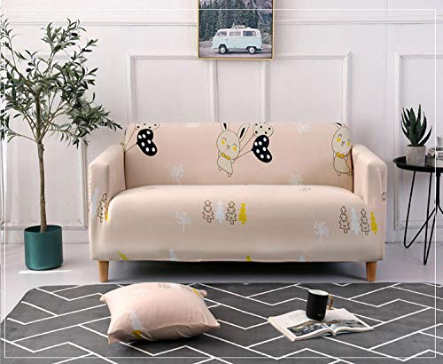 Allenger Stretch Material, Couch/Bed Throw,Printed Stretch Sofa Cover, All-Inclusive Sofa Cover, Machine Washable, Anti-fouling Sofa Cover-Jungle Rabbit_235-300cm