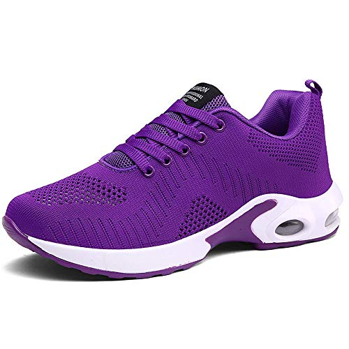 Pamray Women's Running Shoes Walking Air Cushion Lightweight Breathable Sneakers Athletic Sport Non Slip Purple-A 41