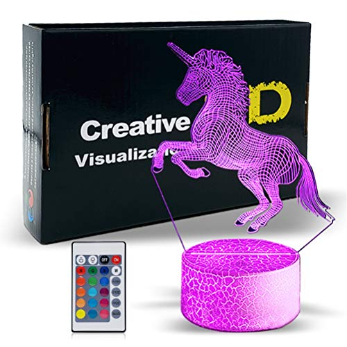 Unicorn 3D Night Light for Girls, Dimmable 3D LED Lamp Nightlight,16 Colors +7 Colors Changing with Remote Control Best Birthday Gifts