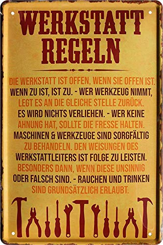 """Blechschilder Lustiger Handwerker Spruch """"Werkstatt Regeln"""" Deko Metallschild Schild für Hobbyraum Werkstatt Geschenkidee 20x30 cm"""