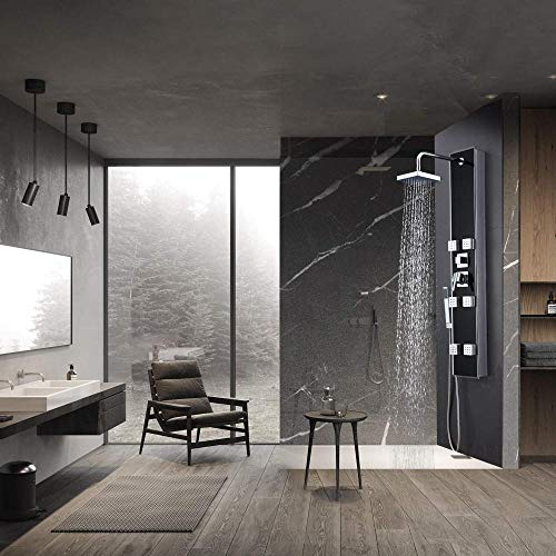 LIMQ douchepaneel met zwart glas, douchepanel, 3 douchefuncties met regendouche, 6 massagejets en handdouchesysteem