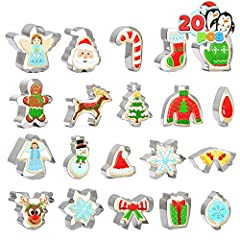 SUPER VALUE PACK. This cookie cutter set basically includes 20 pcs all you need, santa claus, snowman, gingerbread man, reindeer, angel, snowflake, christmas tree, sweater, santa hat, christmas socks, glove, candy cane, bell, ornament, bowknot and gi...