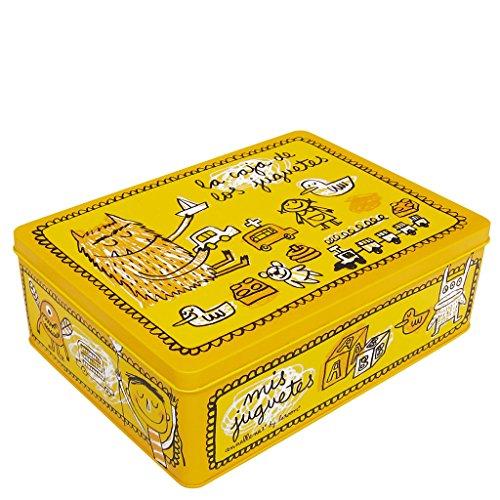 Caja metálica amarilla decorada