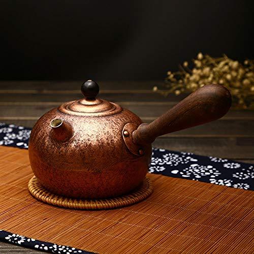 Pure handgemaakte dikke koperen pot, gekookte thee zijpot, retro pot, ketel, huishoudelijk hout, theeset, accessoires Antiek Koper
