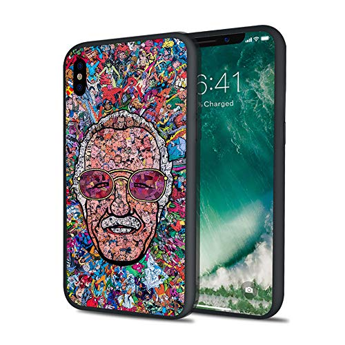 Stan Super Heroes Godfather Lee Famous Comics Writer Design Memorial Colorful Style Hard PC Cover Protective Case for iPhone 6 6s 7 8 Plus X XS XS Max XR (iPhone 7 8 Plus)
