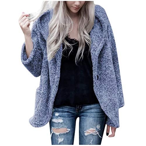 LIM&SHOP Women's Coat Casual Lapel Fleece Fuzzy Faux Shearling Zipper Warm Winter Oversized Outwear Jackets Cozy Top Blue
